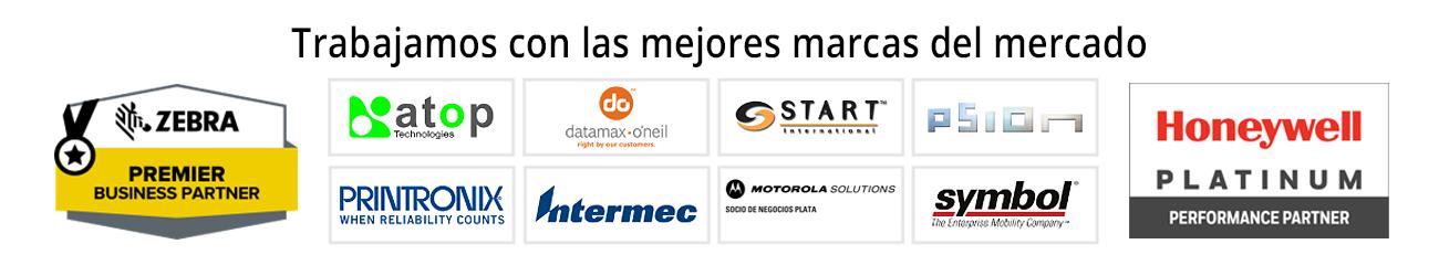 trabajamos con las mejores marcas del mercado, tales como Zebra Technologies, Atop, Printronix, Motorola Solutions, Honeywell, Datamax, entre otras.